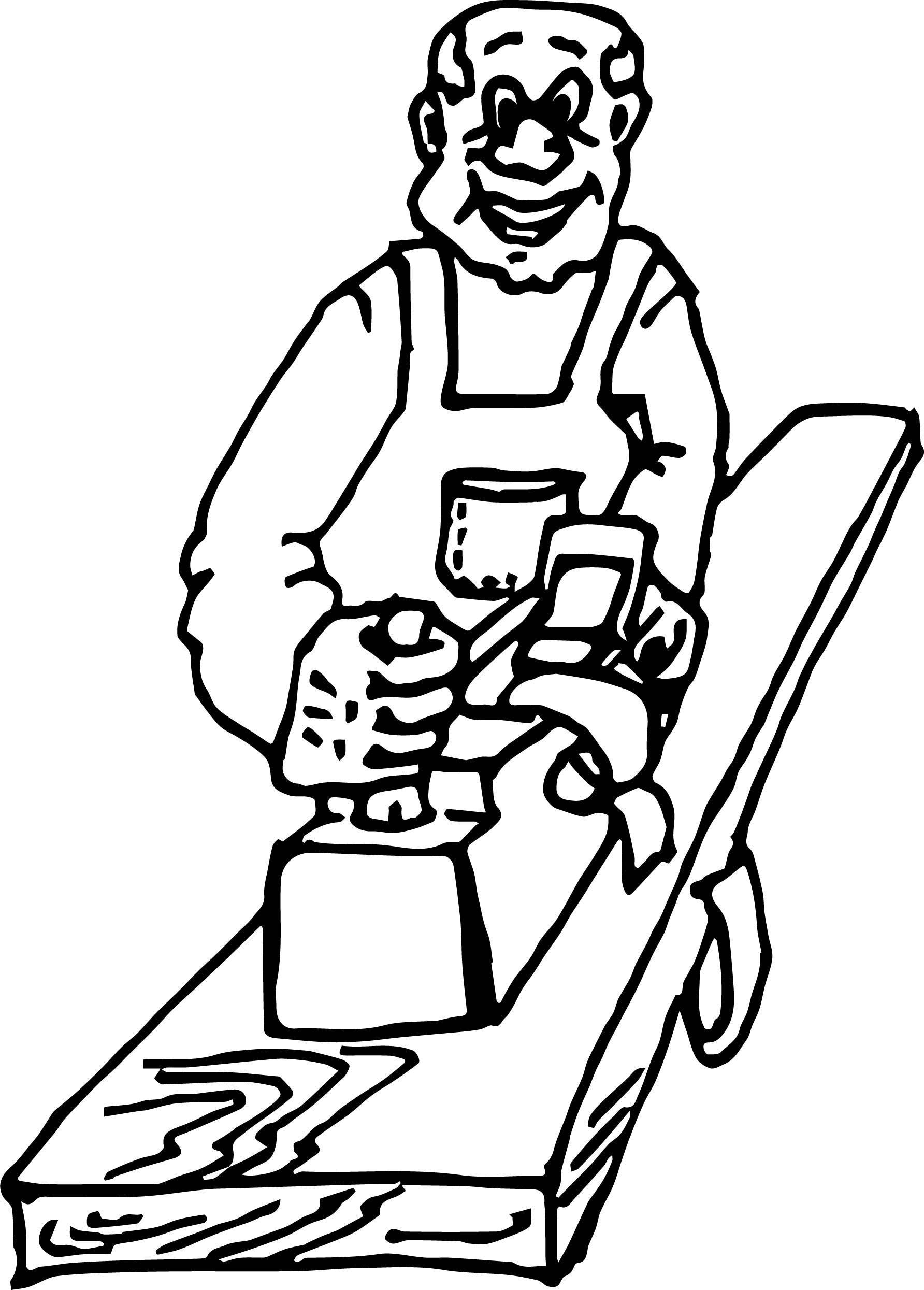 Old Carpenter Coloring Page