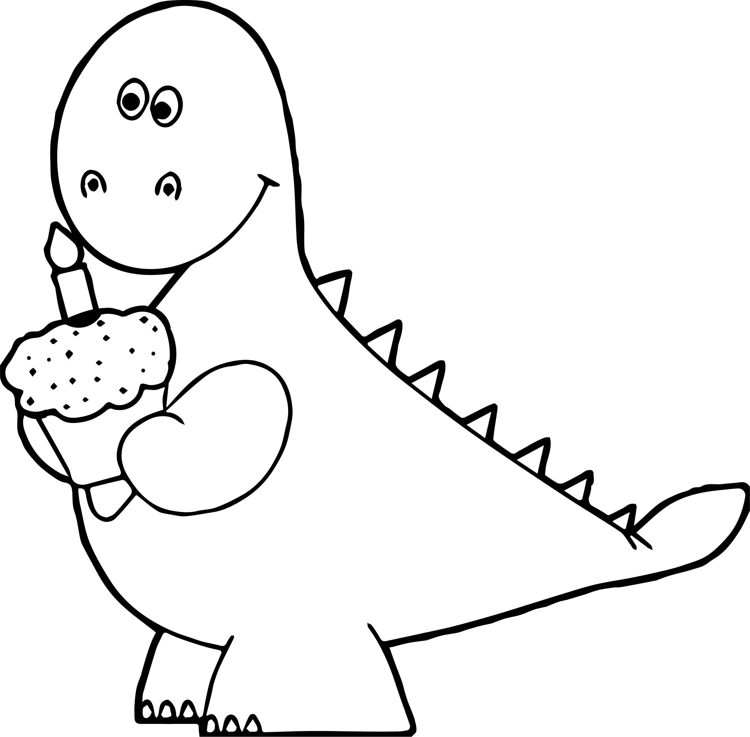 orange dinosaur birthday cupcake coloring page - Cupcake Coloring Page