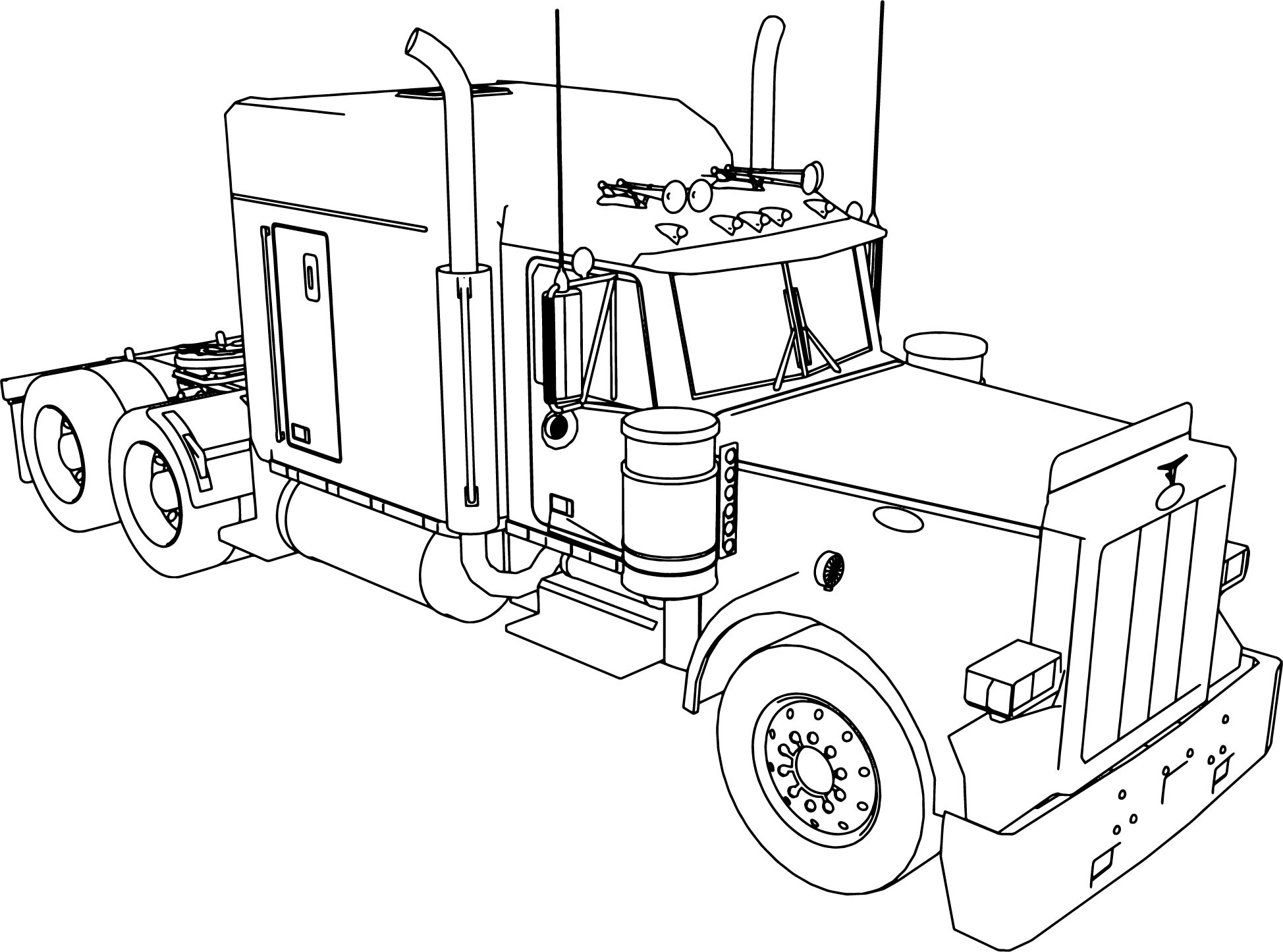 Peterbilt 379 long trailer truck coloring page for Big trucks coloring pages