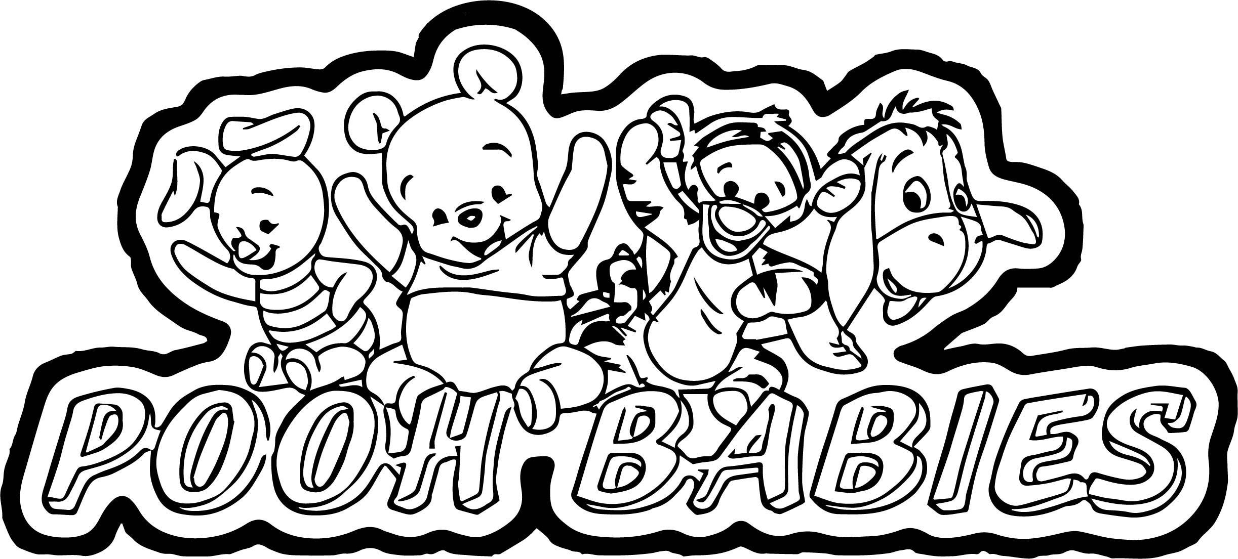 Pooh Babies Title Coloring Page