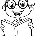 Reading A Book Cute Cartoon Kid Coloring Page