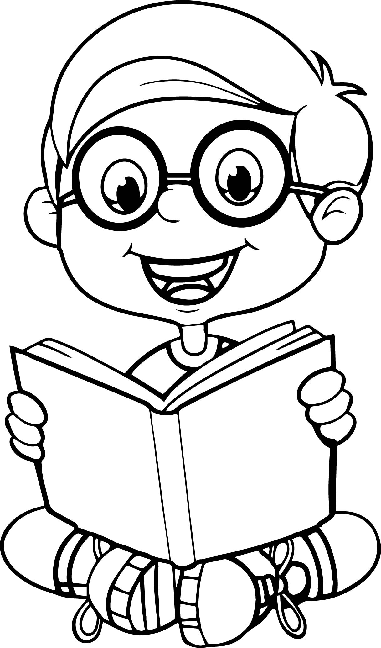 Reading A Book Cute Cartoon Kid Coloring Page | Wecoloringpage