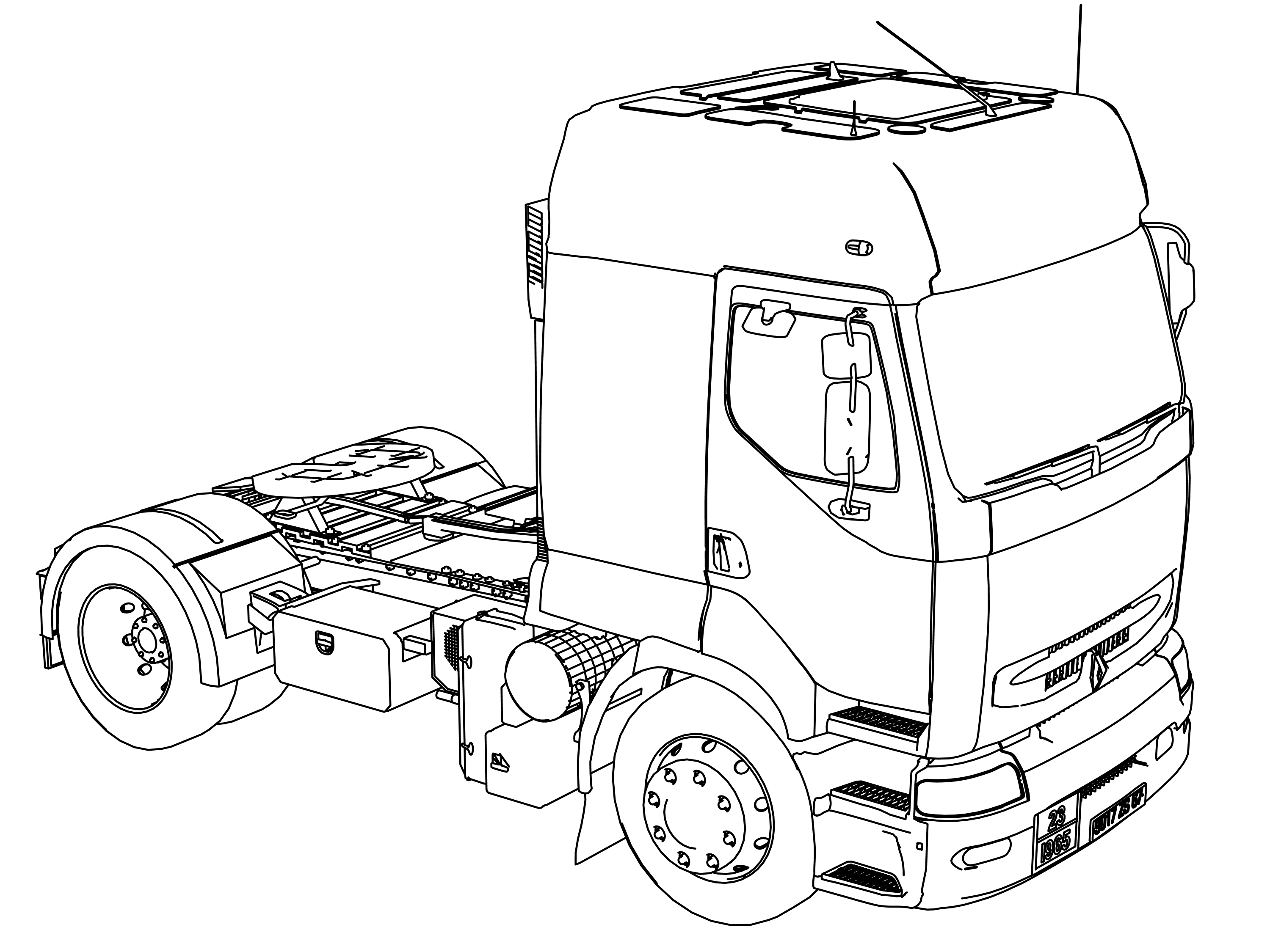 Renault Premium 420 Long Vehicle Truck Coloring Page
