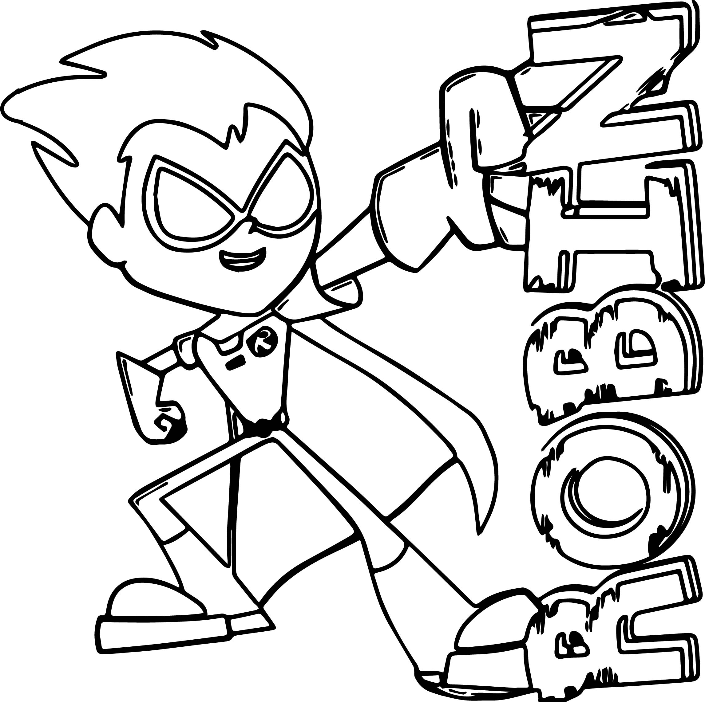 Robin teen titans go coloring page for Teen titans go color pages