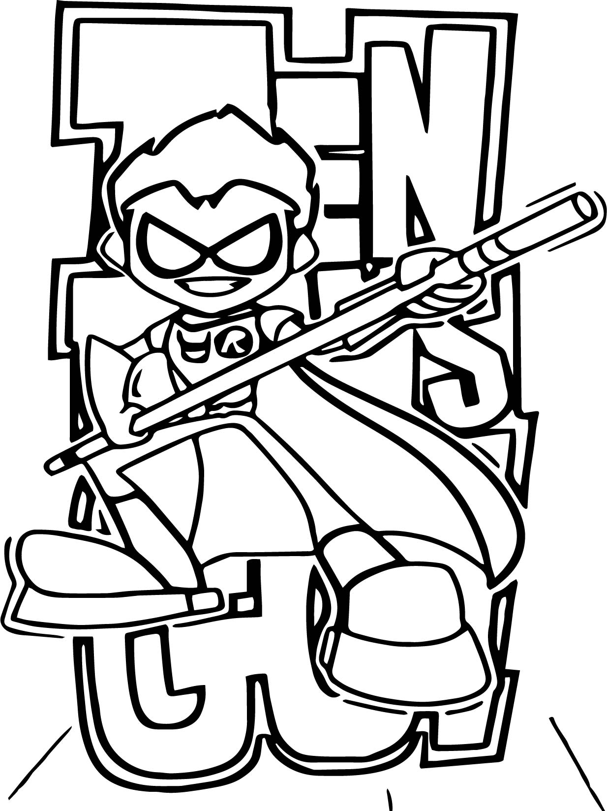 Robin Teen Titans Go Picture Coloring Page
