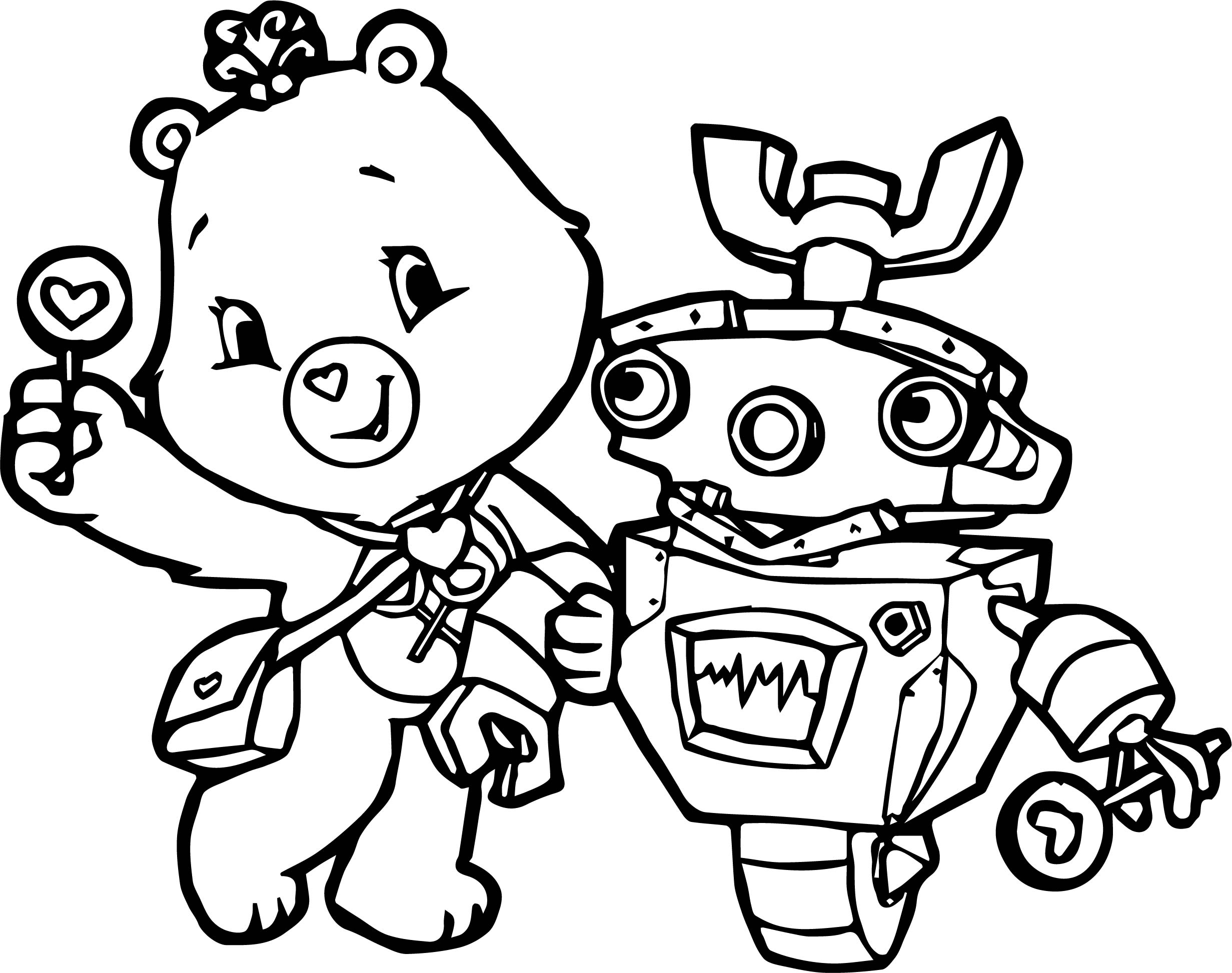 Robot care bears adventures in care a lot coloring page for Care bears coloring pages