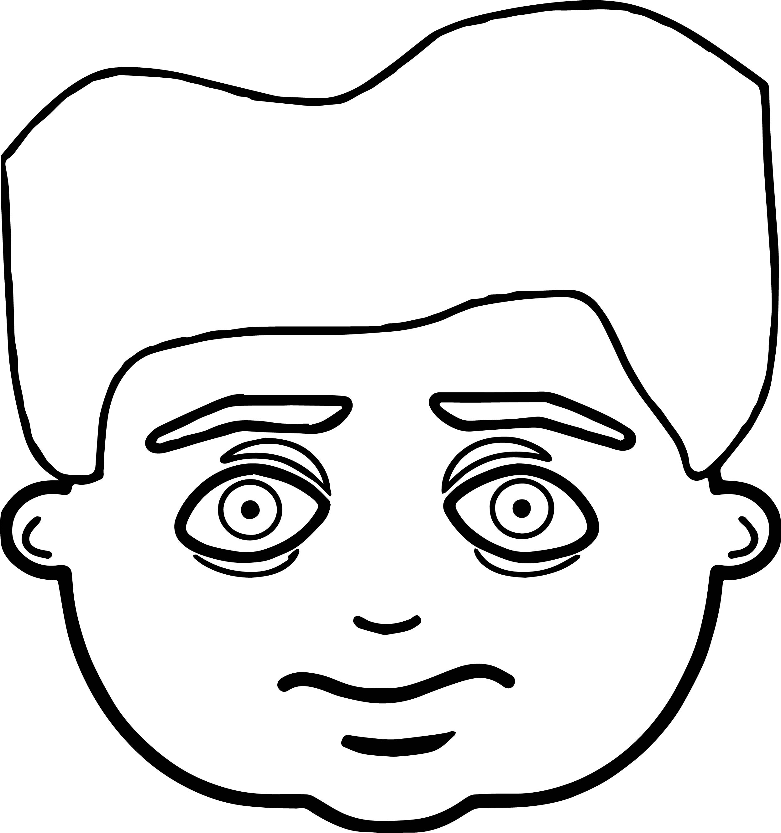 Sad Scream Kid Face Coloring Page