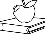 School Icon Graphic With Red Apple On A Textbook Coloring Page