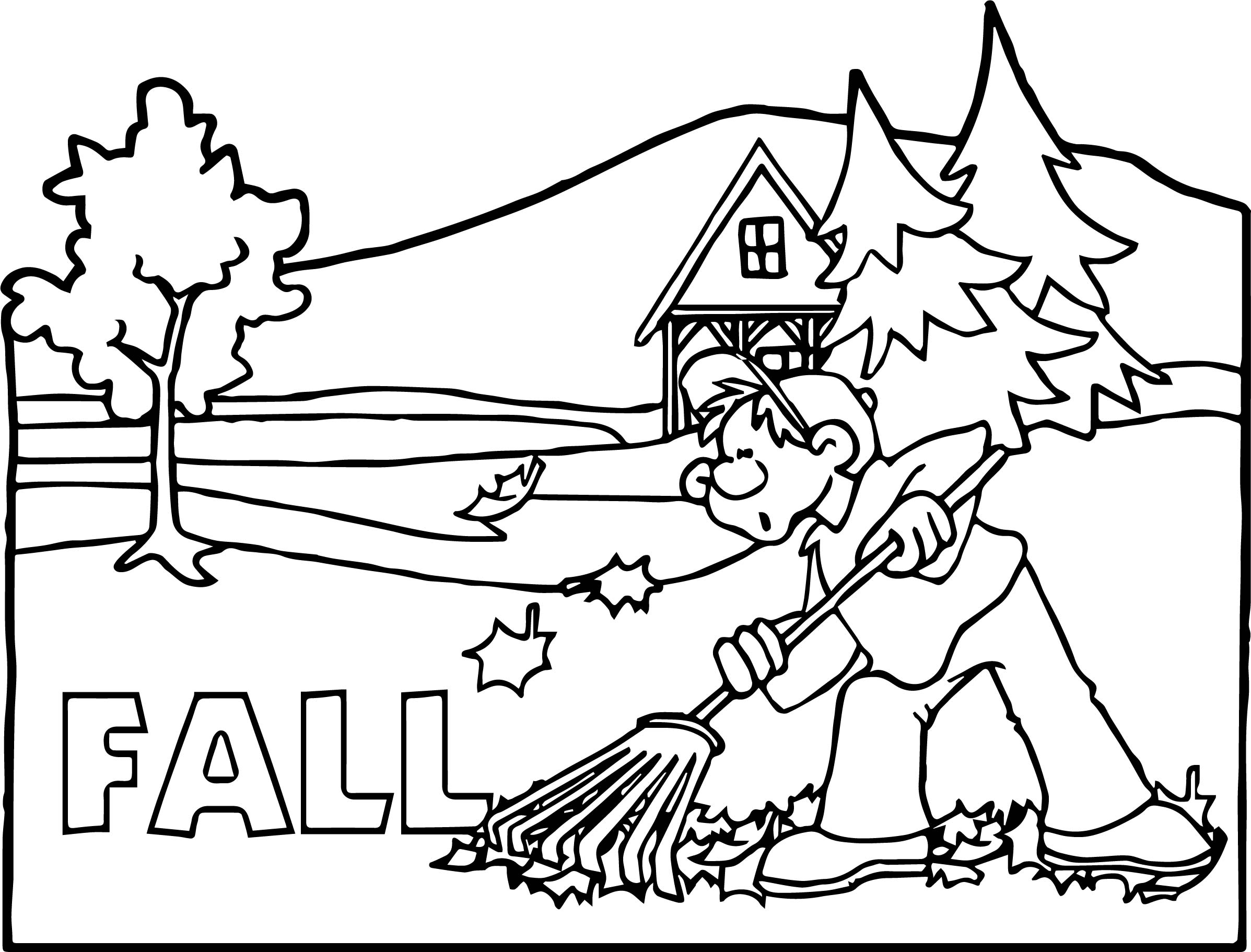 Seasons Fall Scene Boy Coloring Page