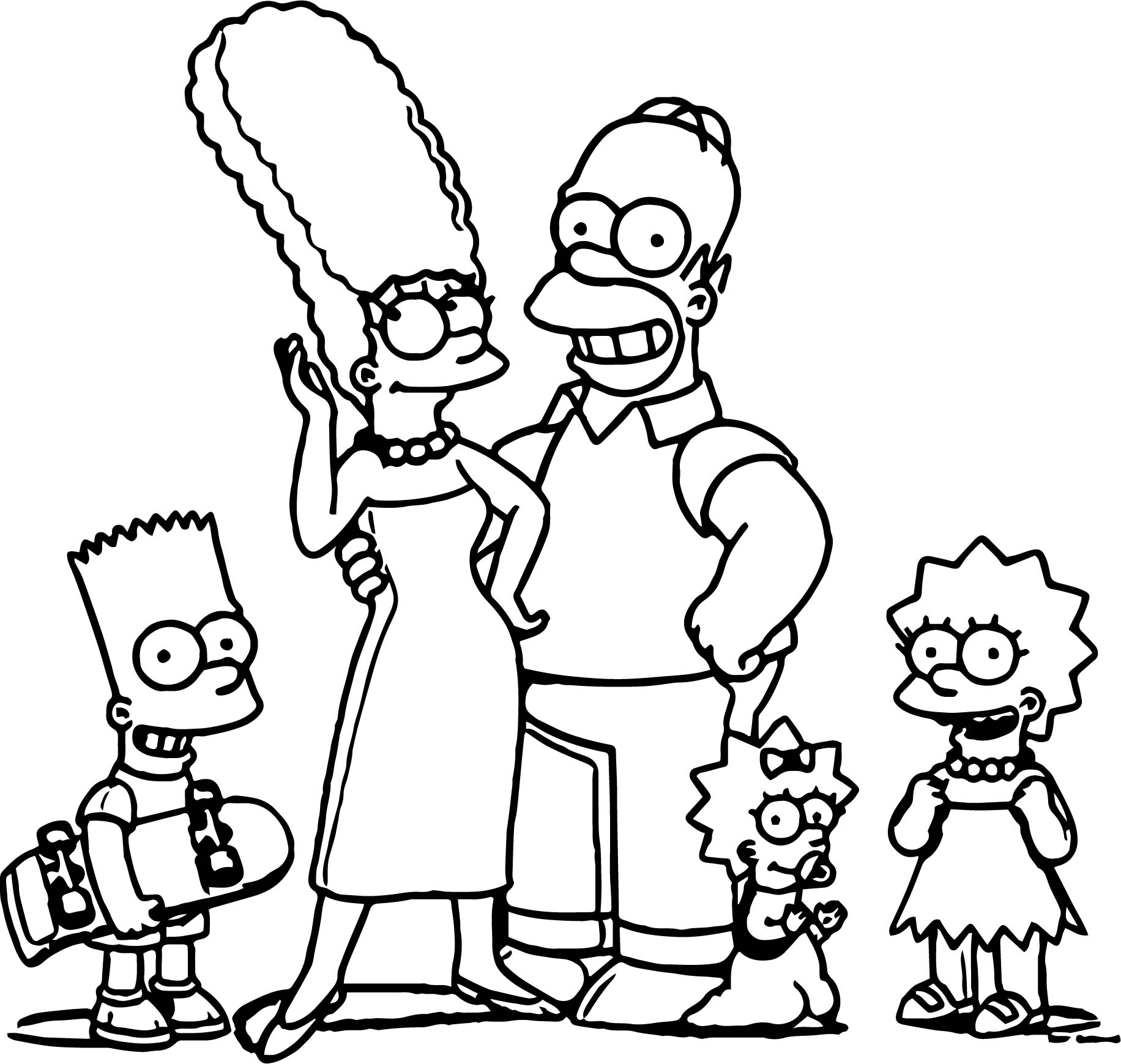 Simpsons Family Selfie Coloring Page