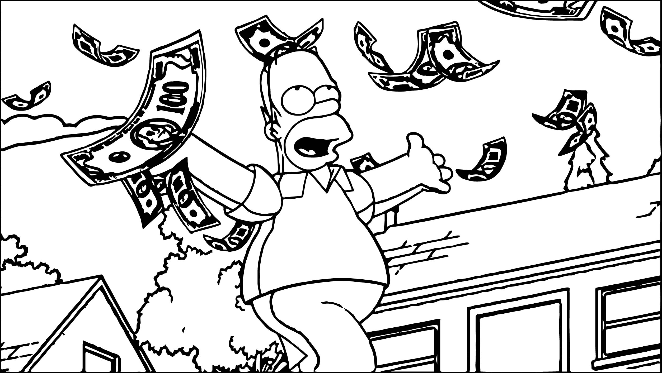 simpsons money coloring page