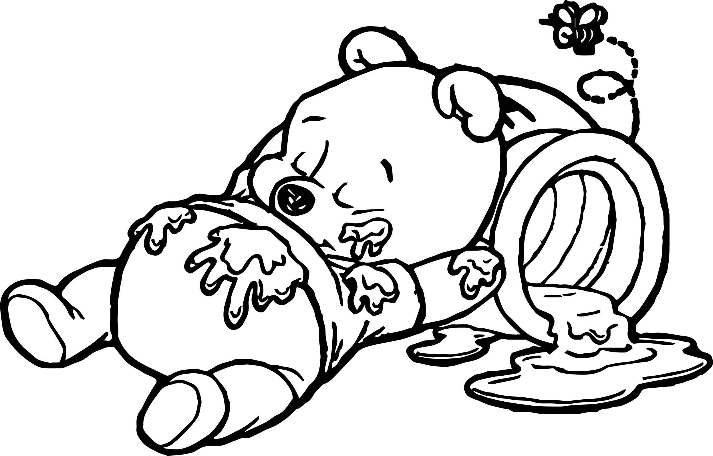 Sleep Baby Pooh Honey Coloring