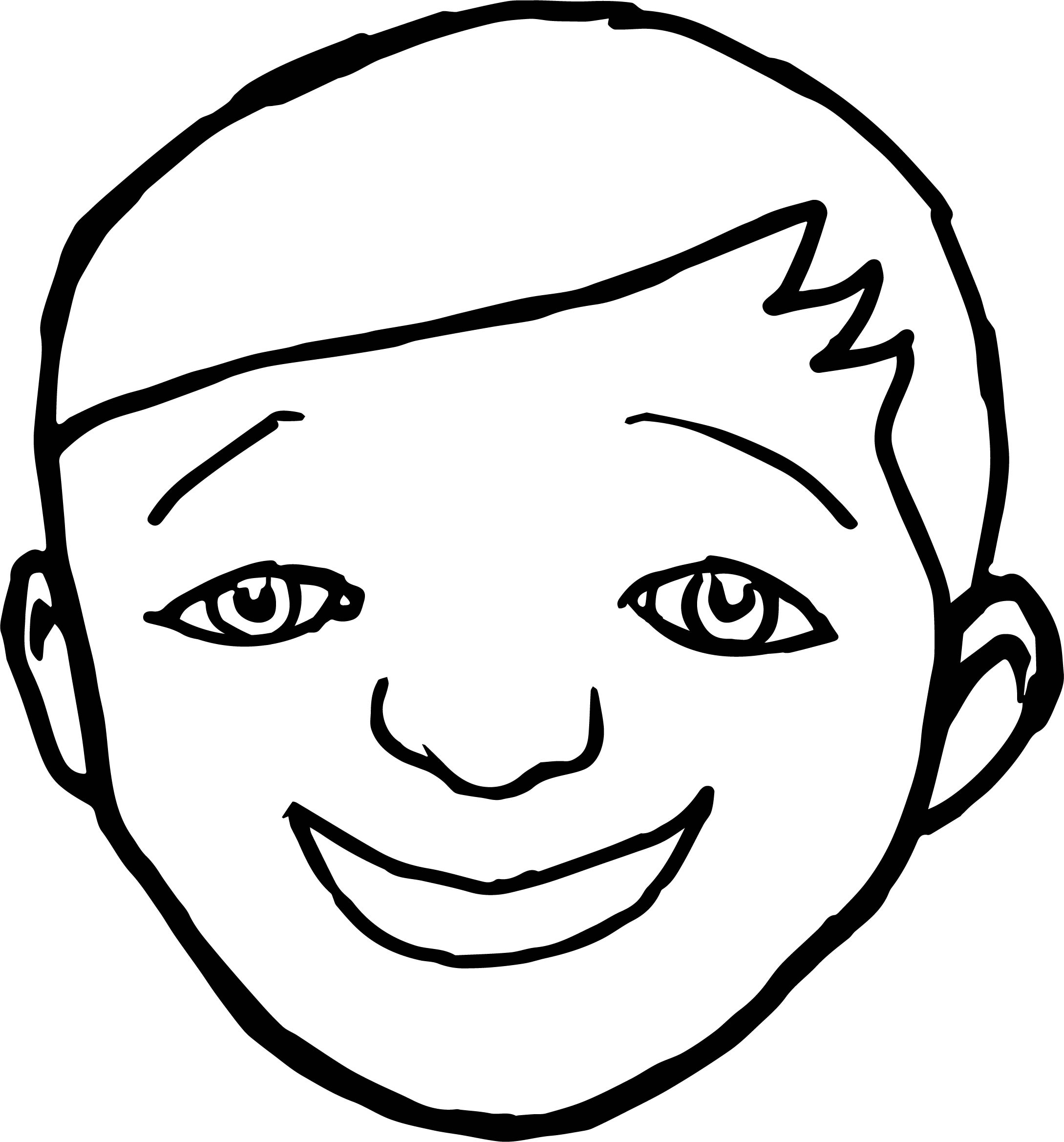 Smile Face Boy Coloring Page
