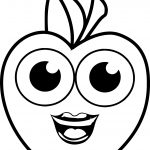 Smile Girl Cartoon Apple Coloring Pages