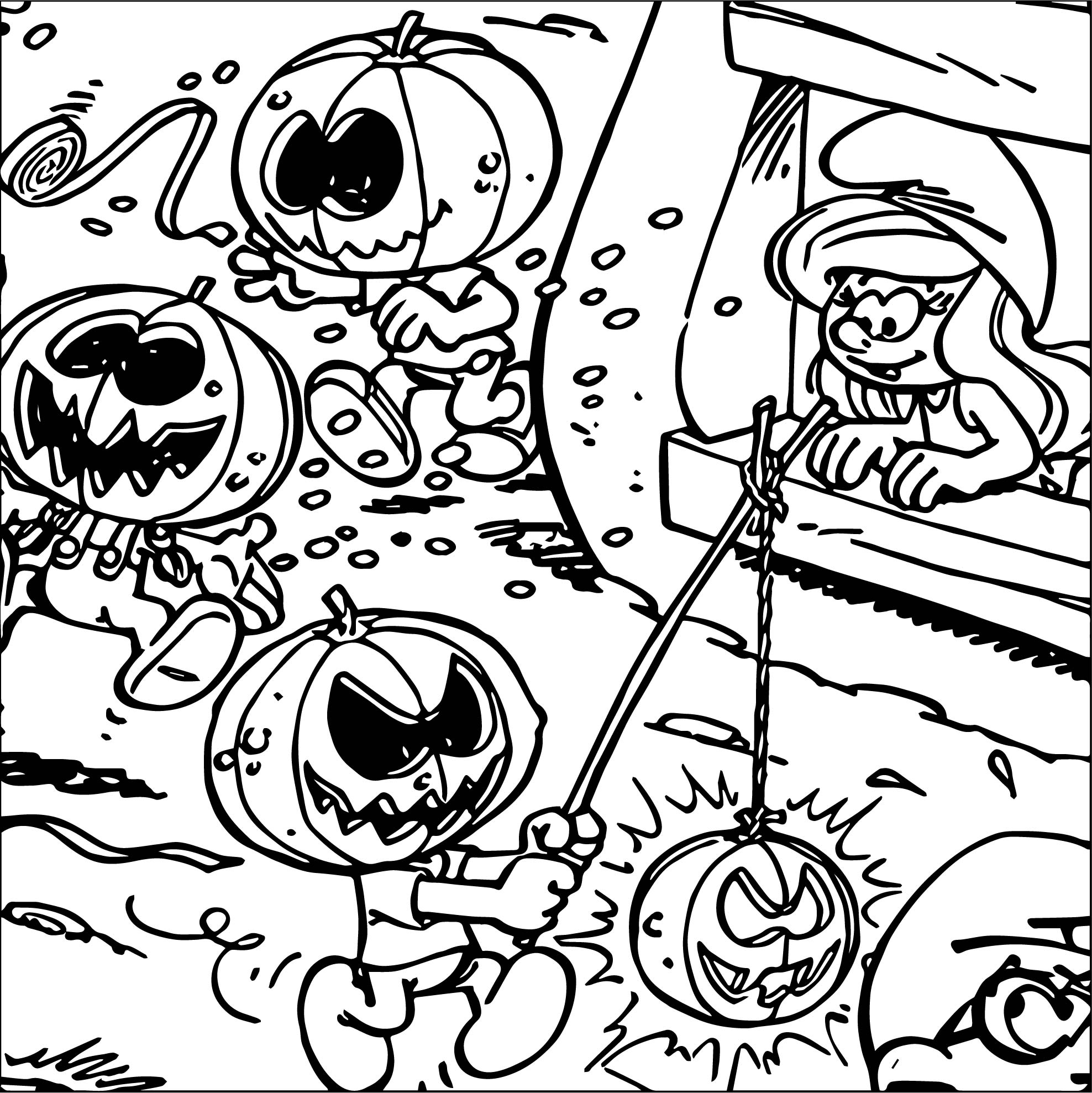 Smurfs Halloween Coloring Page
