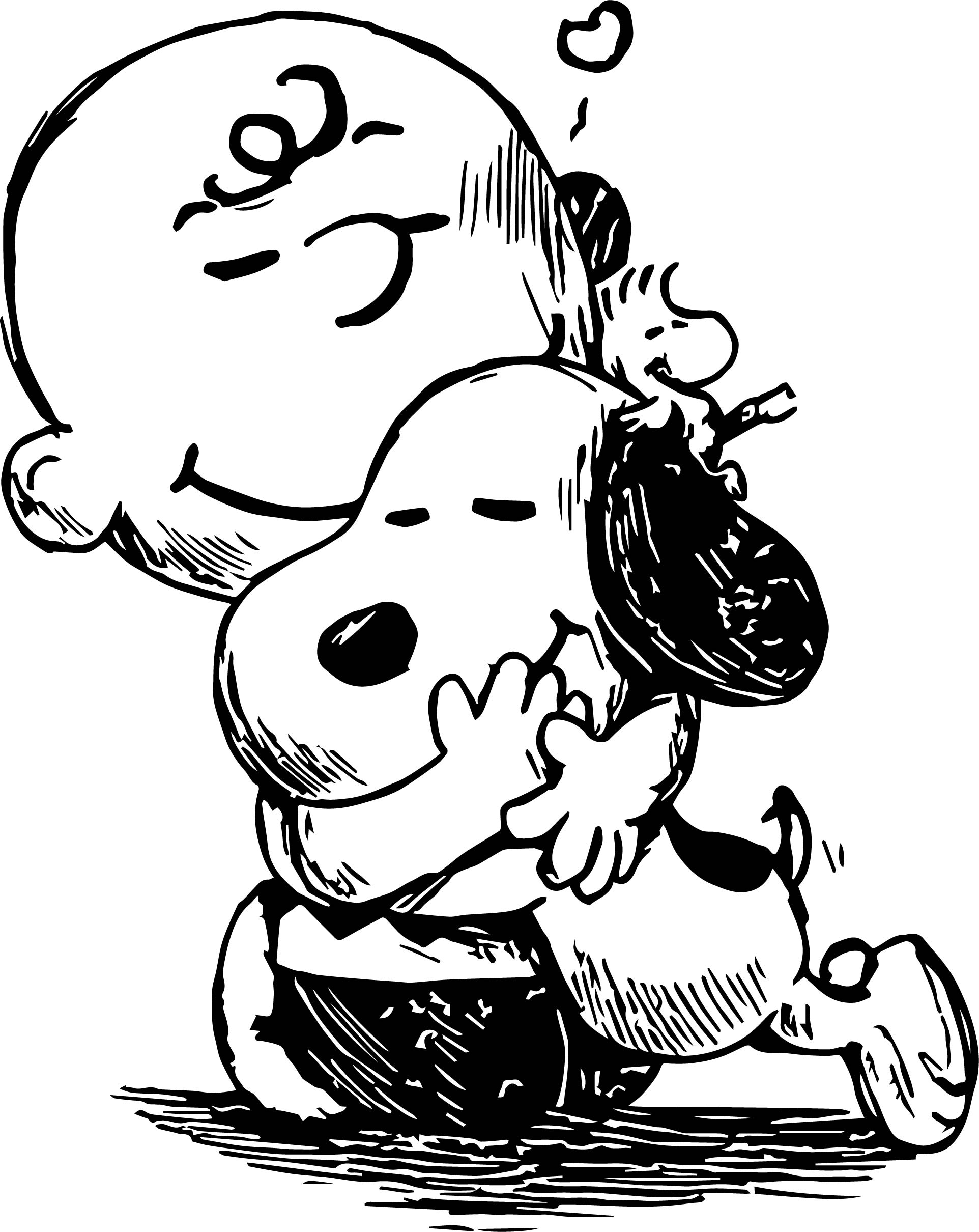 Snoopy And Charlie Brown Black White Sketch Coloring Page Brown Coloring Page