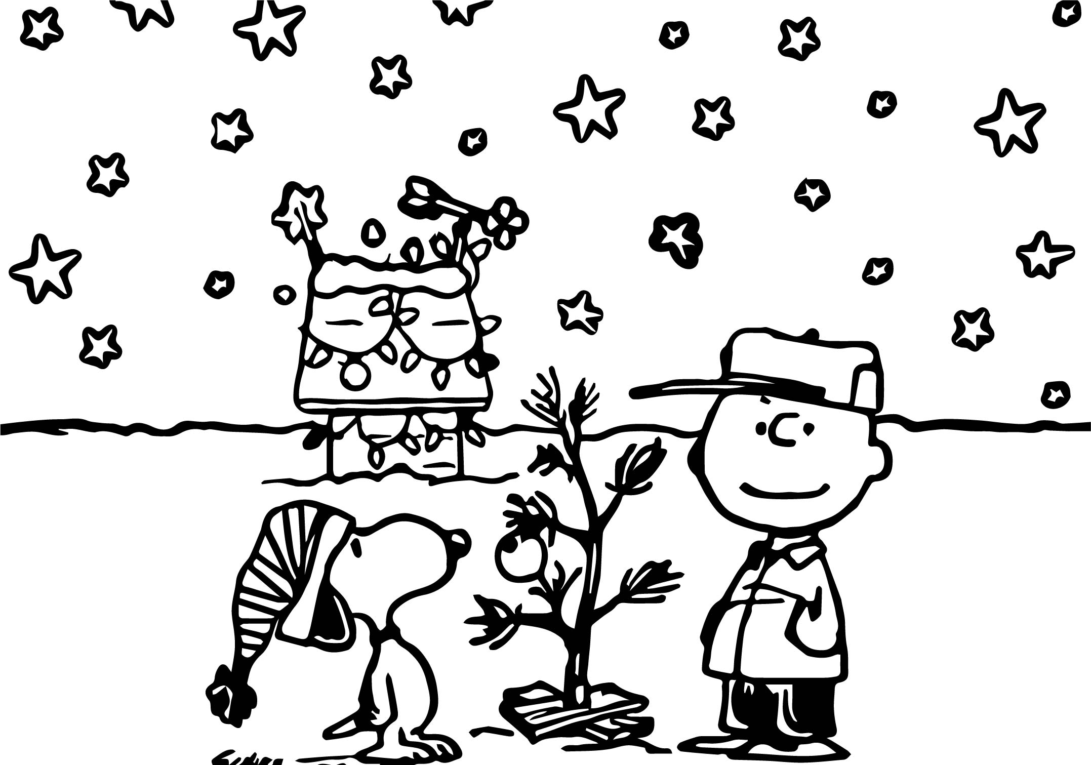Snoopy And Charlie Brown Christmas Brs Coloring Page Wecoloringpage