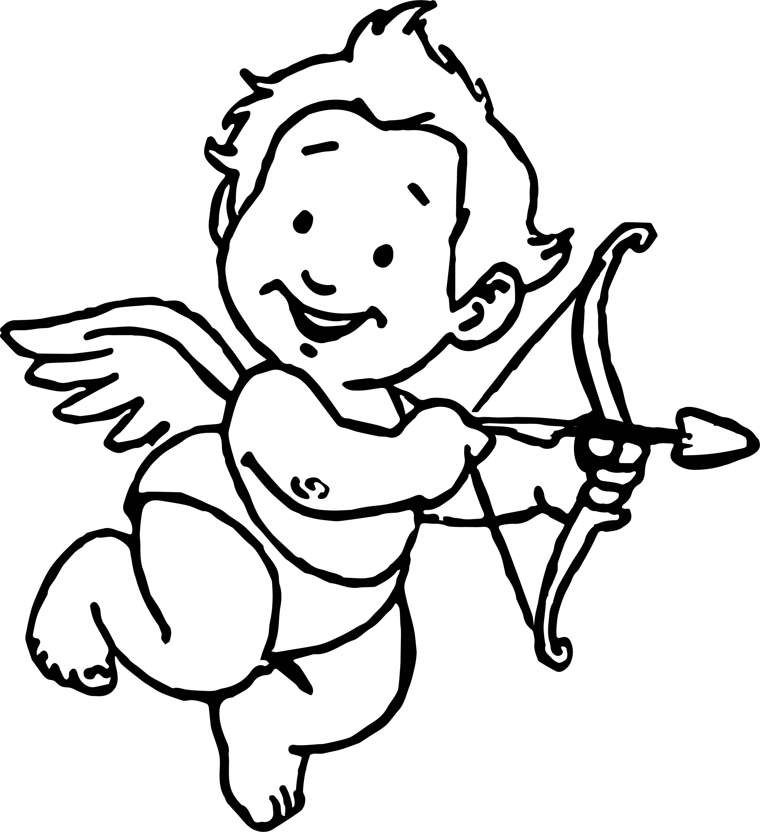 baby cupid coloring pages - sweet baby cupido coloring page