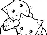 Sweet Manga Japan Cats Coloring Page
