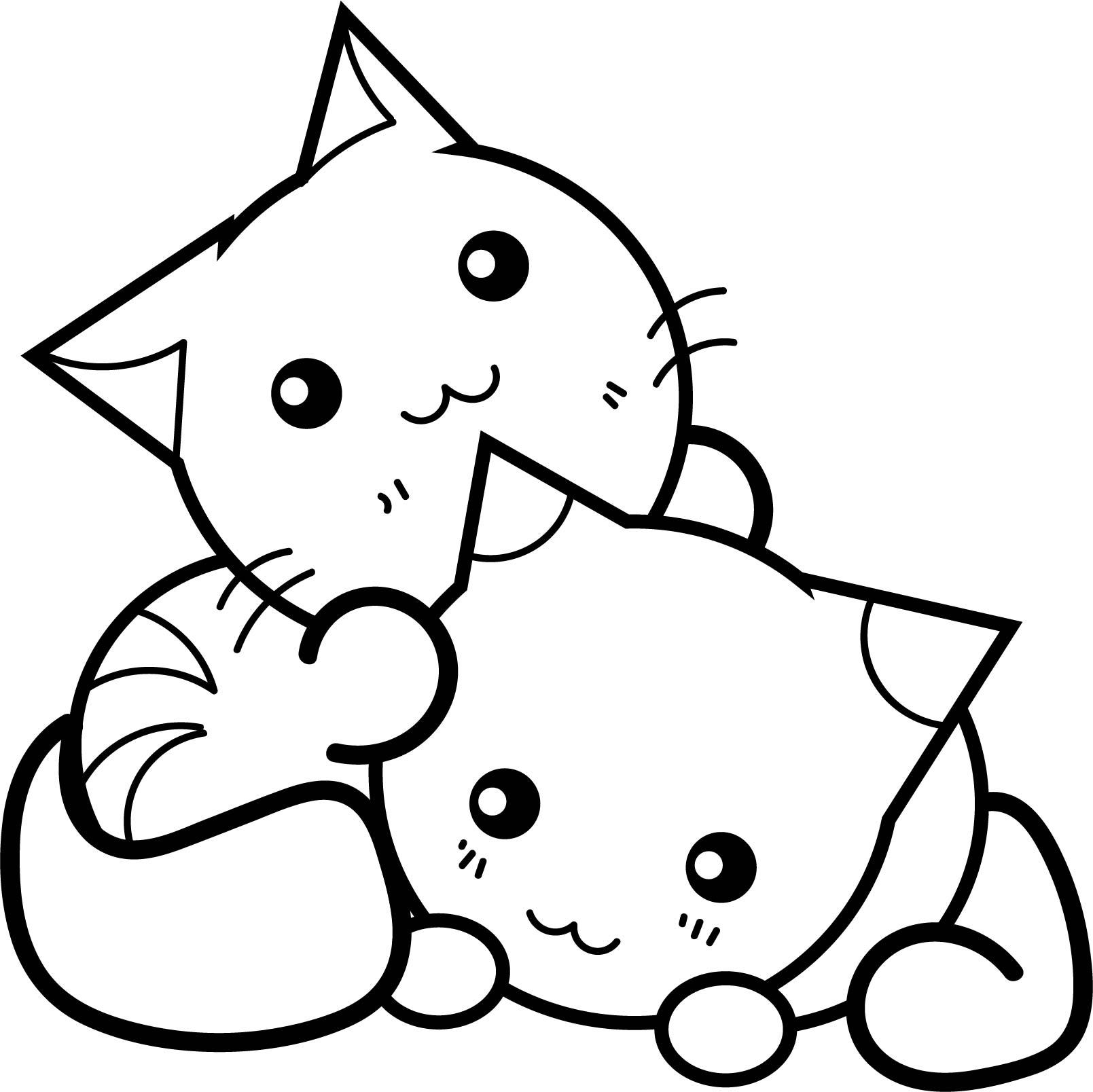 cat coloring page - sweet manga japan cats coloring page
