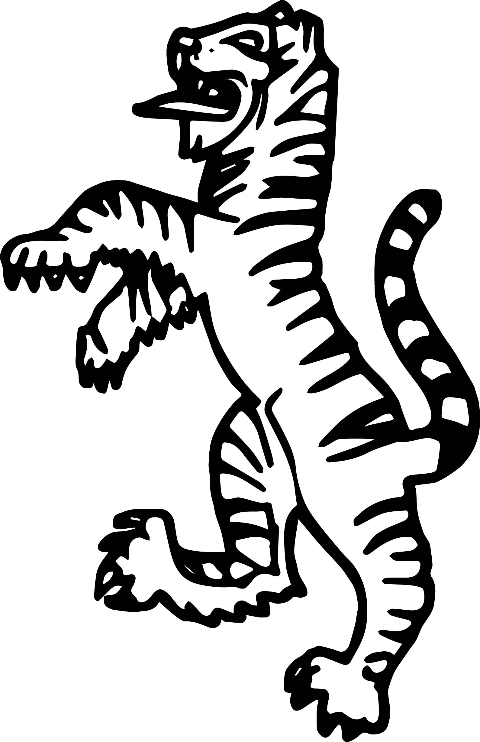 Tiger Standing Coloring Page
