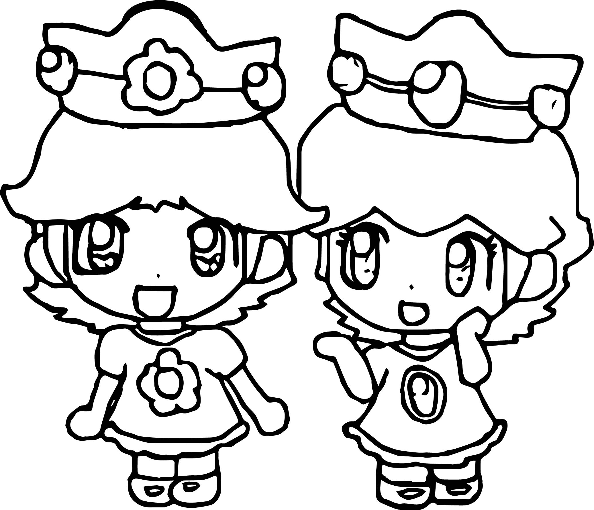Two Daisy Coloring Page