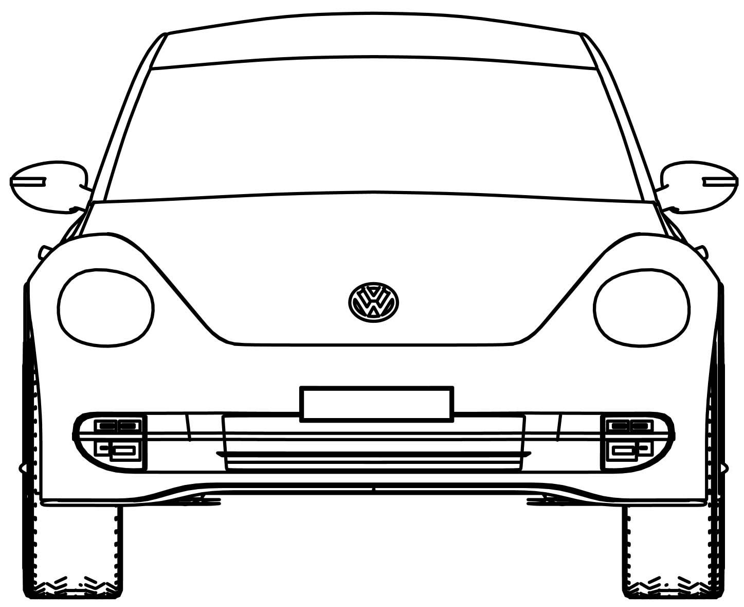 Vw Volkswagen Beetle Front View Coloring Page