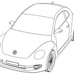 Vw Volkswagen Beetle Perspective View Coloring Page