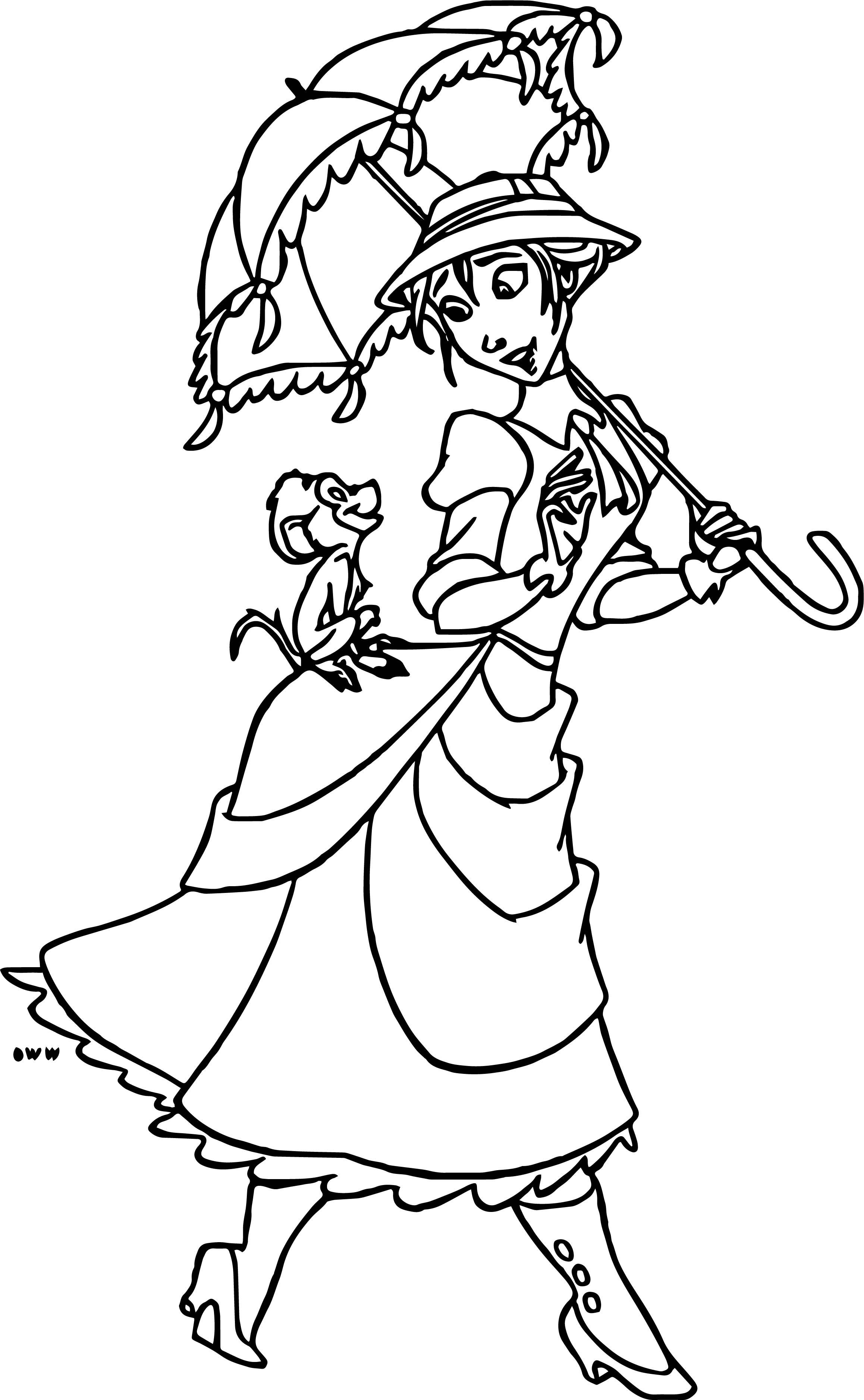 Walking Jane Parasol Monkey Coloring Page