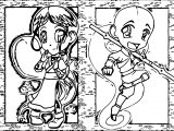 Aang And Katara Chibis Guardianyashu Avatar Aang Coloring Page
