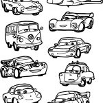 All Chibi Cars Characters Coloring Page