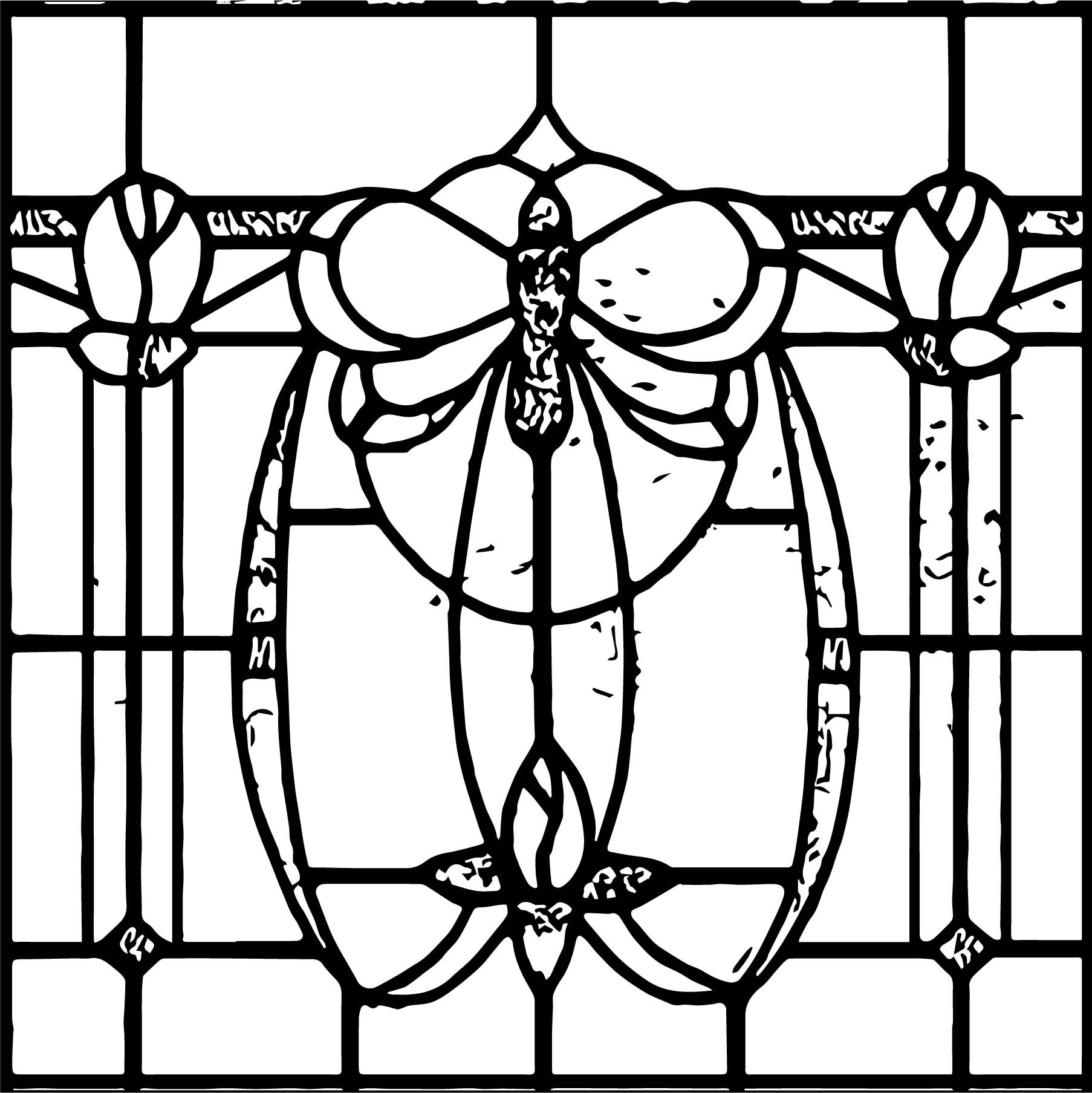 art nouveau stained glass coloring page wecoloringpage com