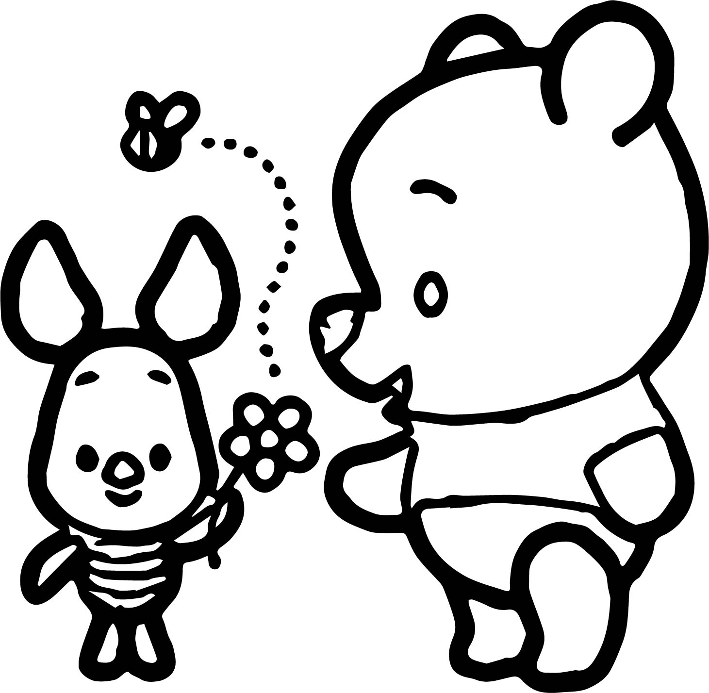 Baby Pig Pooh Flower Coloring Page