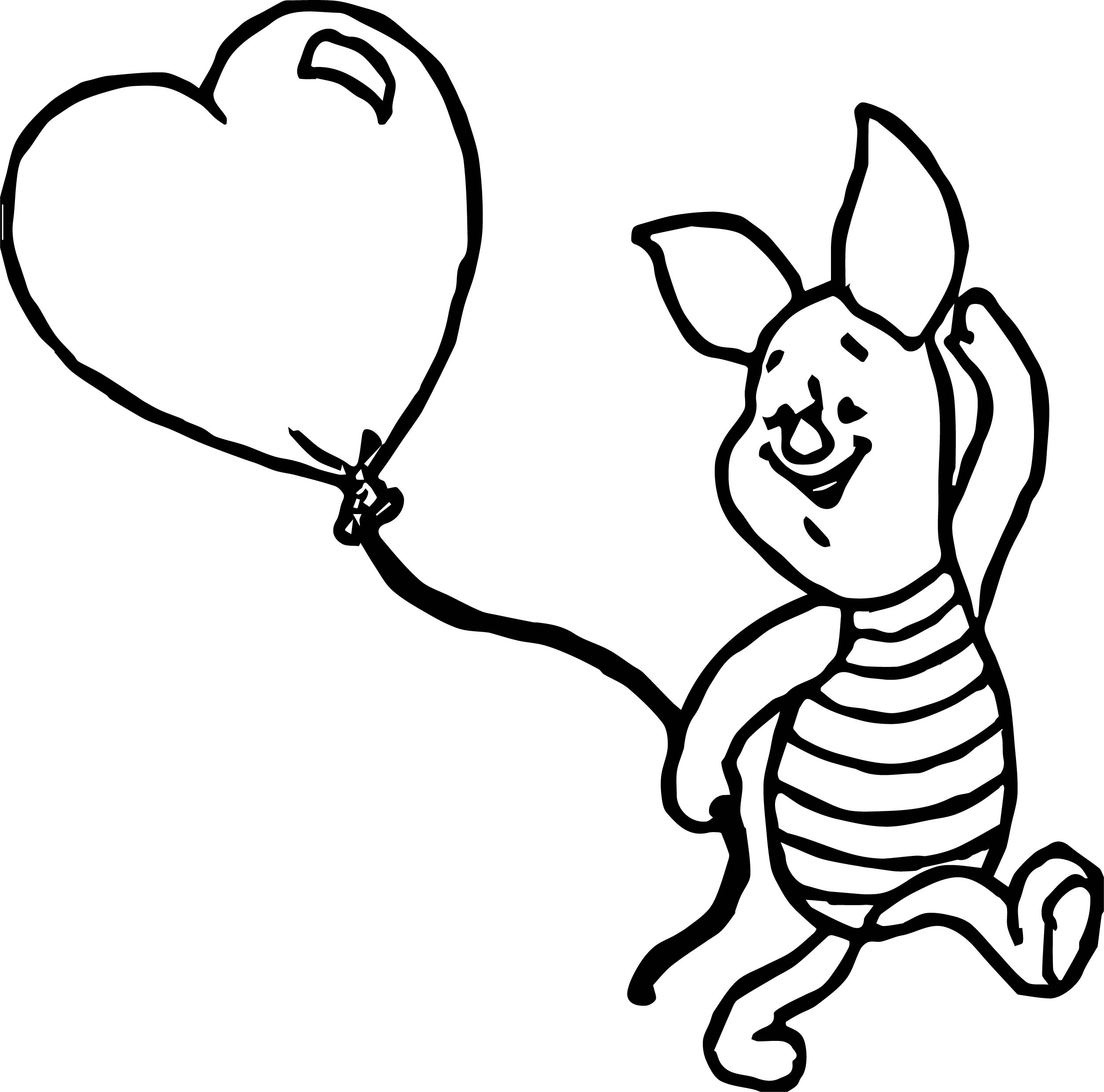 Baby piglet balloon coloring page for Piglet coloring pages