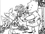 Baby Piglet Bear Flower Coloring Page