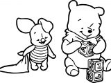 Baby Piglet Winnie The Pooh Play Cube Coloring Page