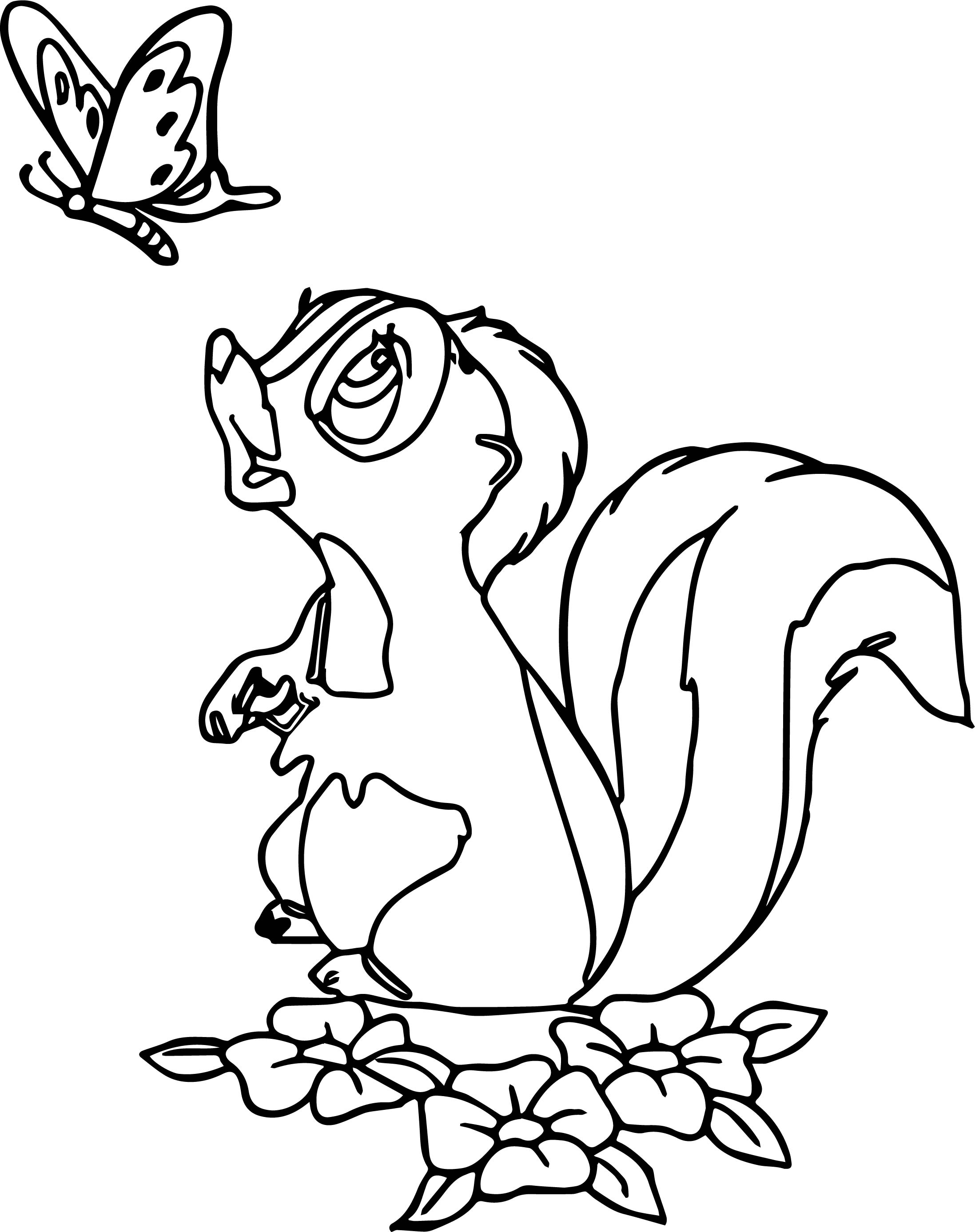 coloring page of a skunk bambi s flower the skunk flower butter coloring pages