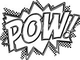Batman Pow Manga Punch Text Coloring Page