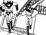 Batman Robin Running Coloring Page