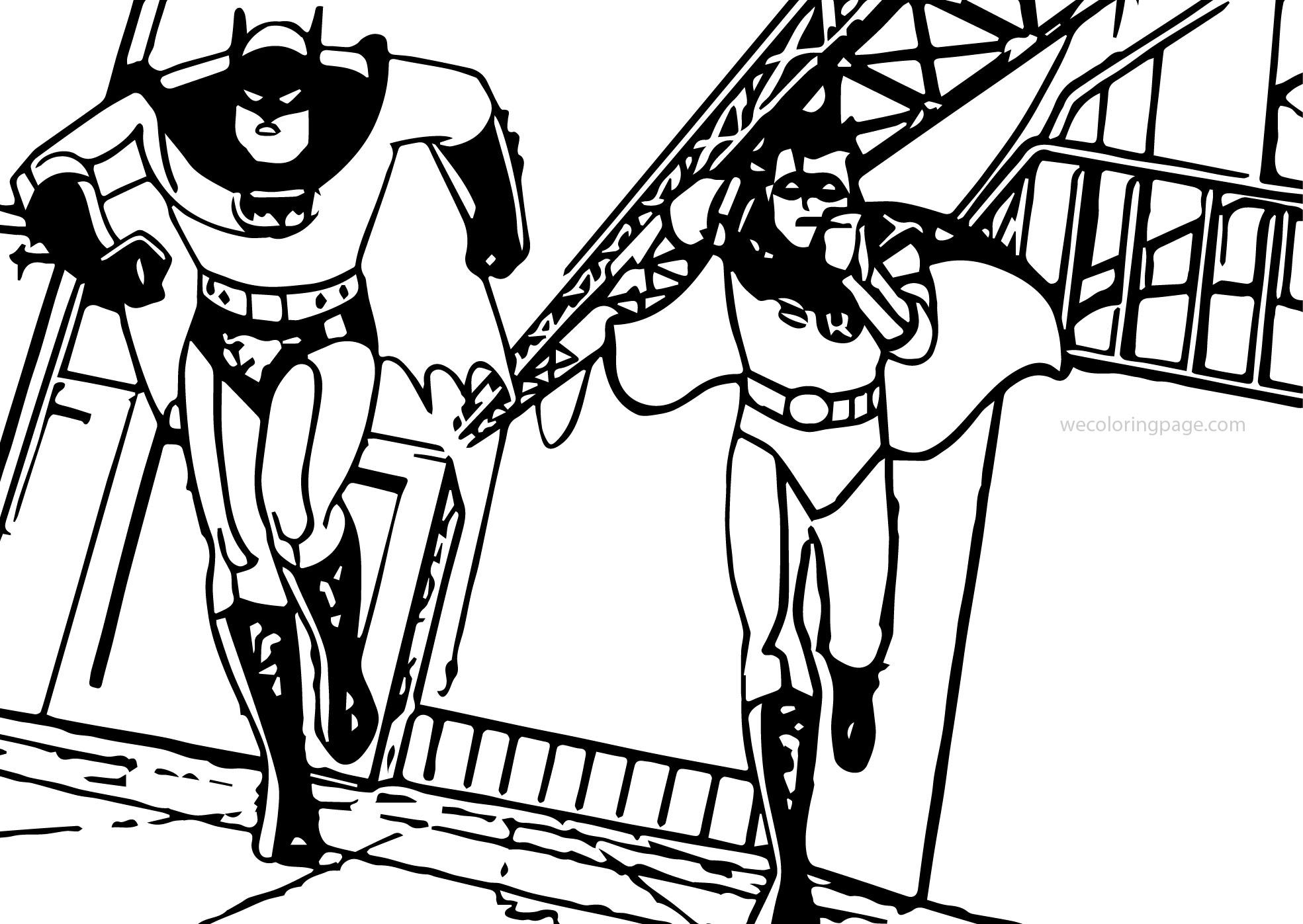 Batman Robin Running Coloring Page