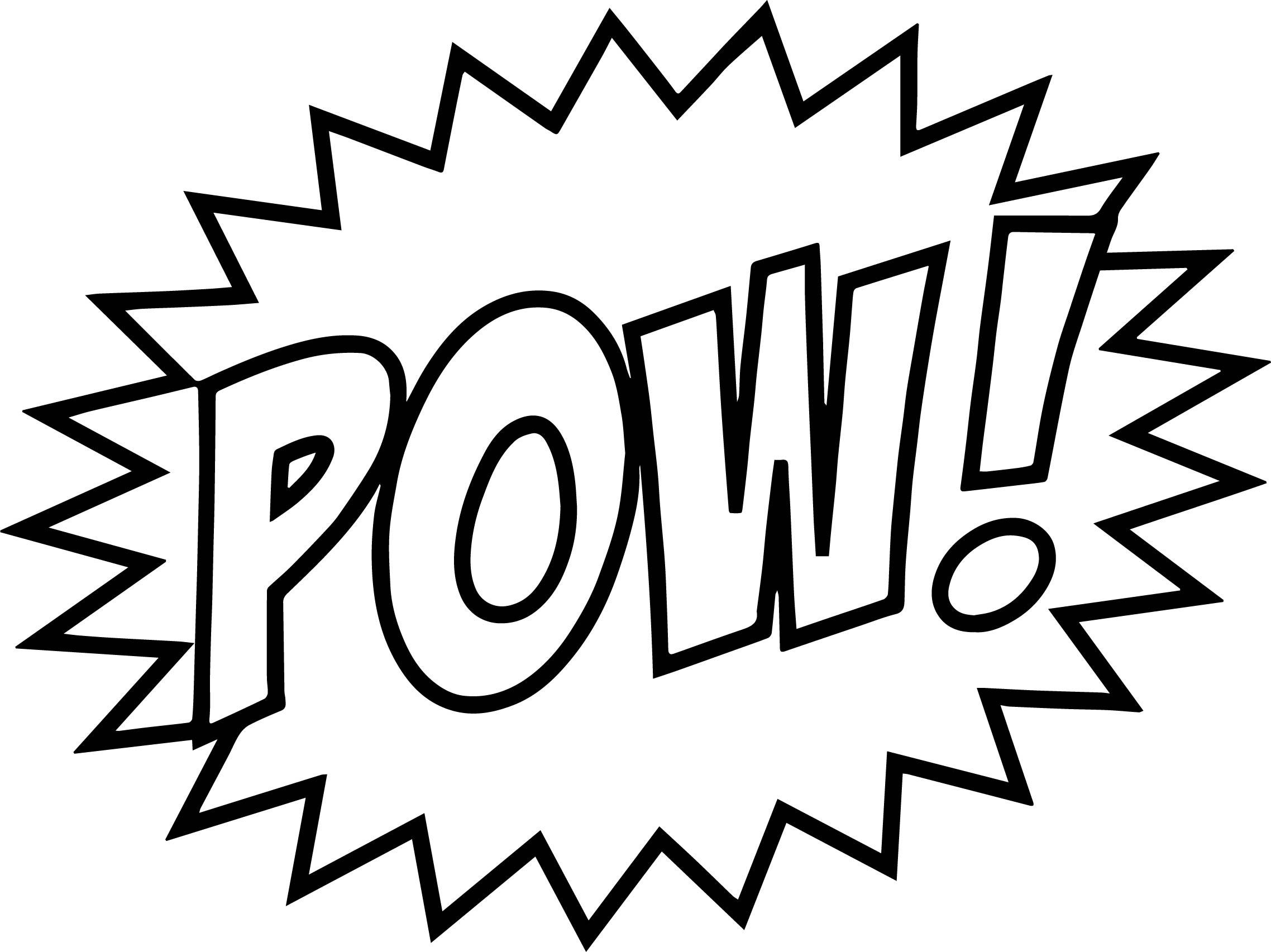 Superhero Batman Batmobile Coloring Sheets Printable Kids: Batman Words Pow Text Coloring Page