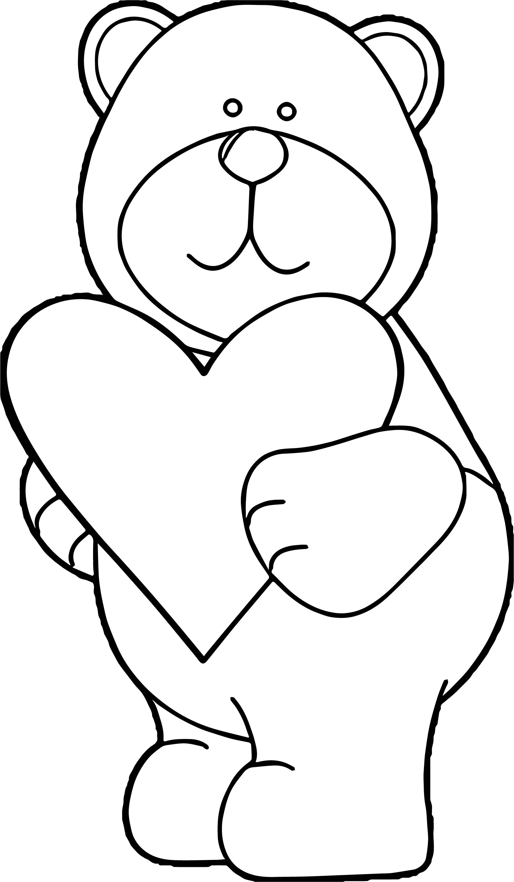 coloring pages teddy bear heart | Bear Heart Coloring Page | Wecoloringpage.com