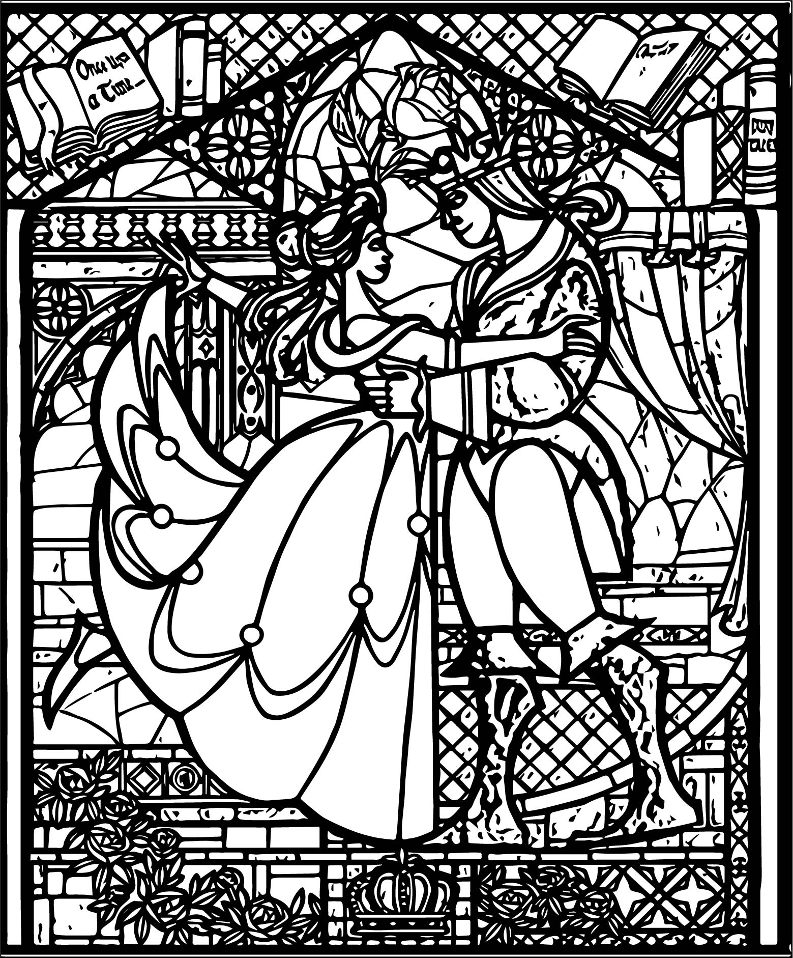 Belle Beast Stained Glass Coloring Pages | Wecoloringpage