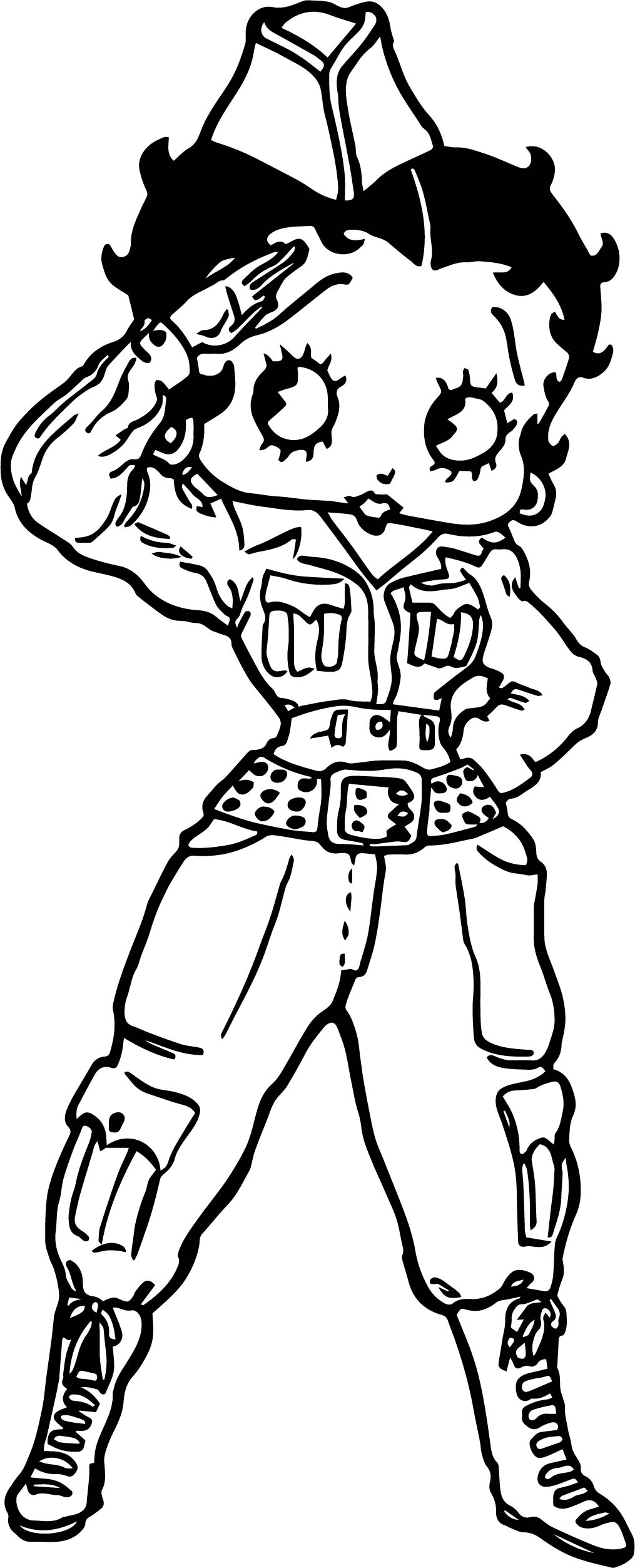 Betty Boop Soldier Coloring Page | Wecoloringpage