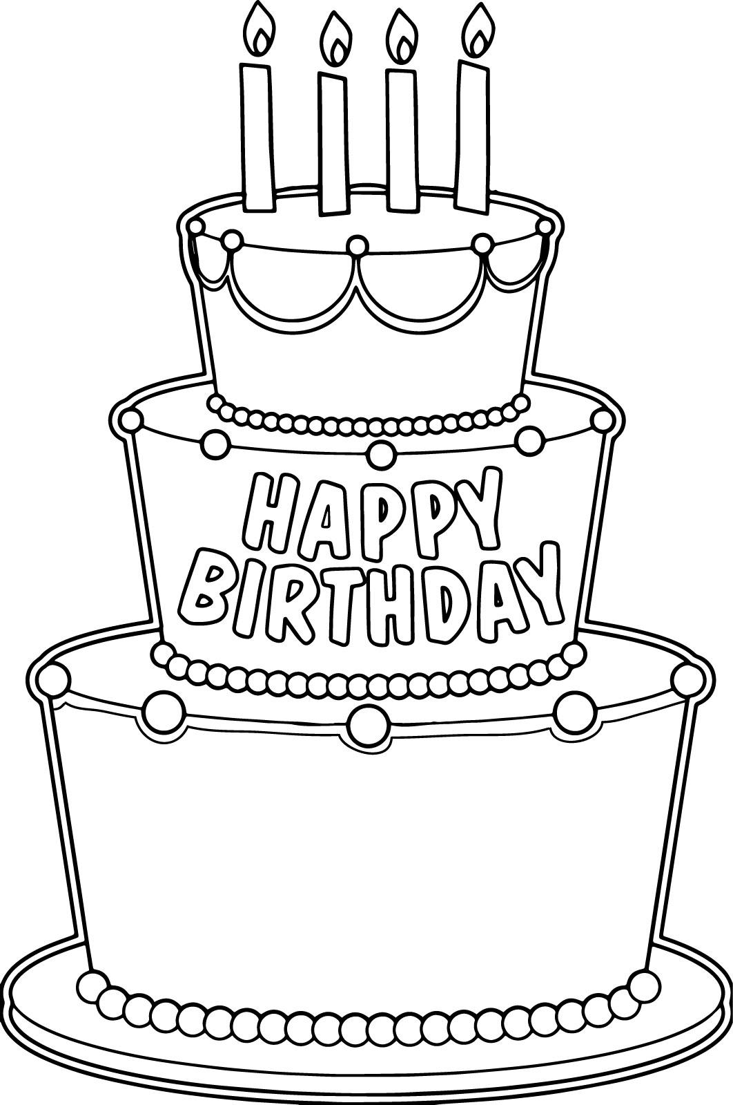 Big Birthday Cake Coloring Page Wecoloringpage
