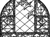 Birds & Stained Glass Window Coloring Page
