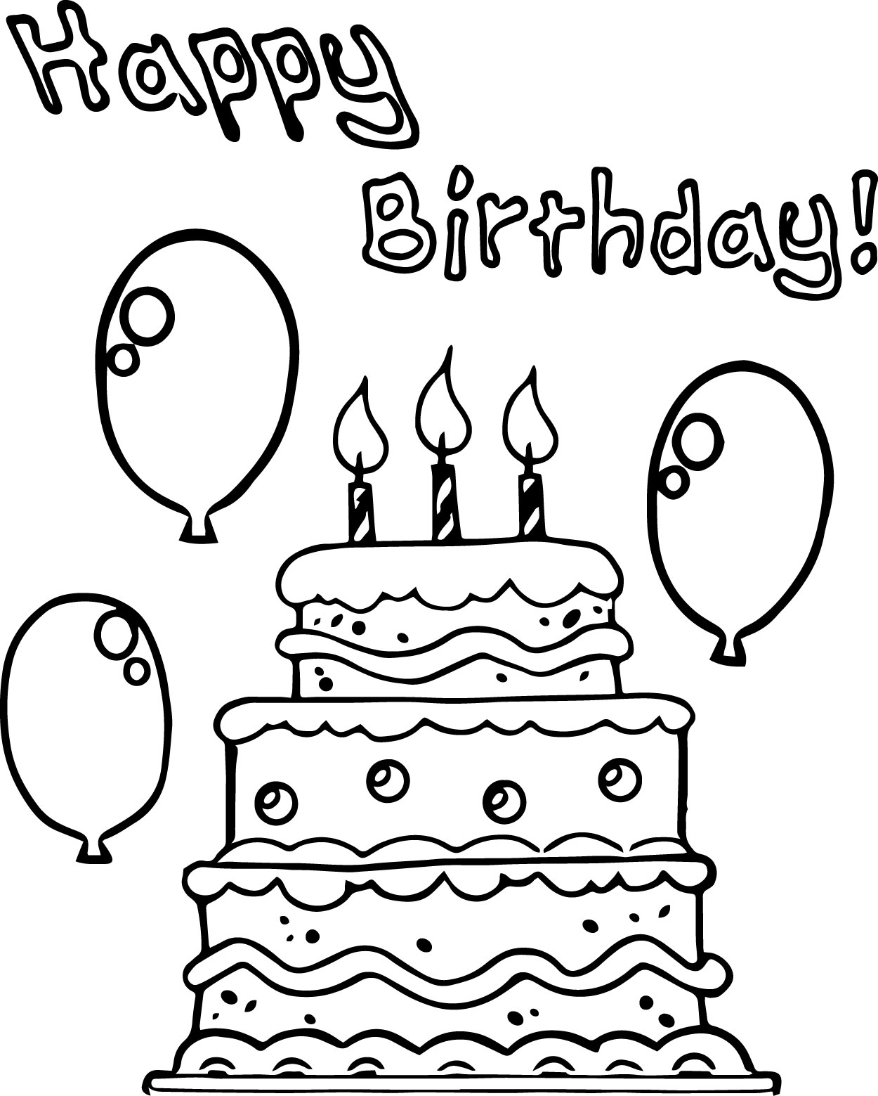 Birthday Cake Balloon Party Coloring Page | Wecoloringpage.com