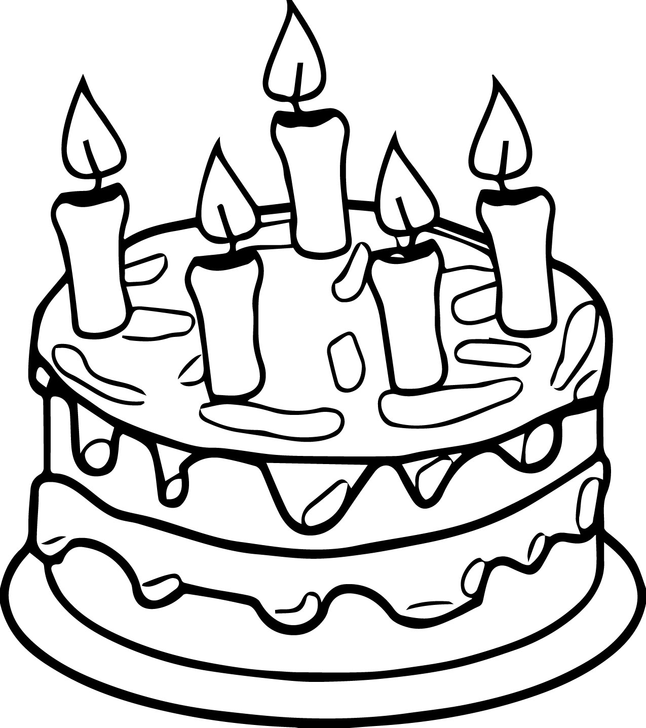 Birthday cake candle coloring page for Birthday coloring page