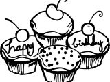 Birthday Cake Cupcakes Coloring Page