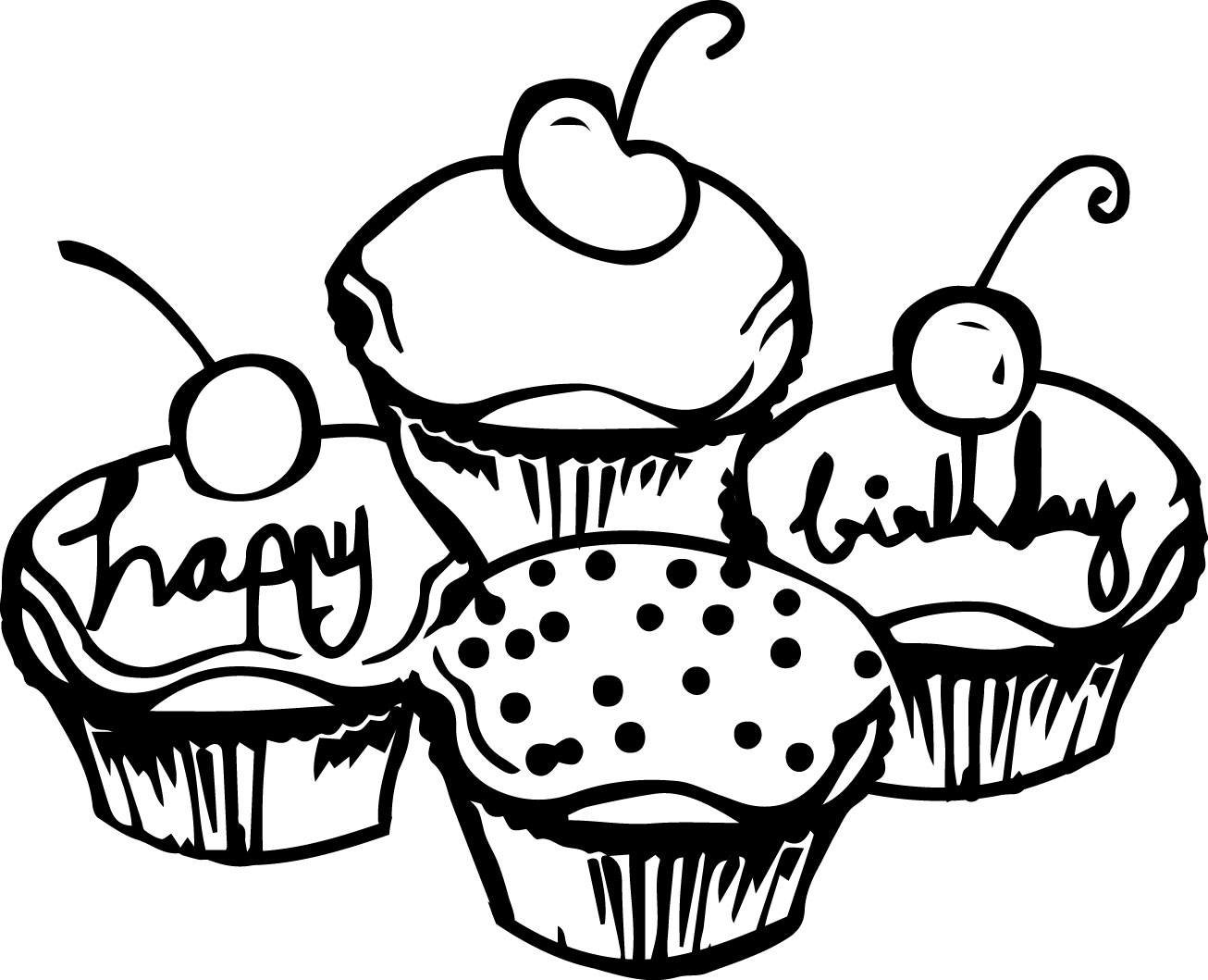 Birthday Cake Cupcakes Coloring Page | Wecoloringpage.com